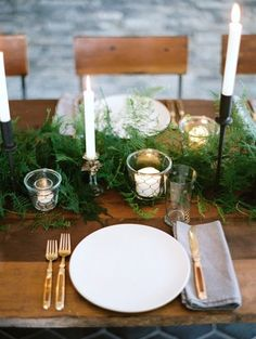 Fern table decoration | Great for a low maintenance elegant winter affair. | LFF Designs | www.facebook.com/LFFdesigns