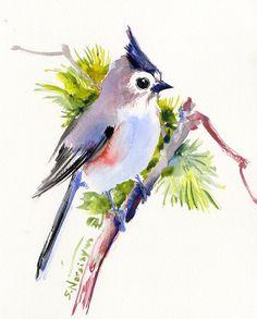 Meise 10 X 8 original Aquarell Asiatika Vogel von ORIGINALONLY