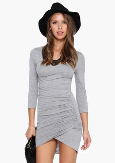 ab7f4a75858 Grey Long Sleeve Ruched Wrap Dress Shop the at