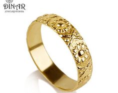 Thin 14k Gold flower Wedding Band ring yellow gold by DINARjewelry