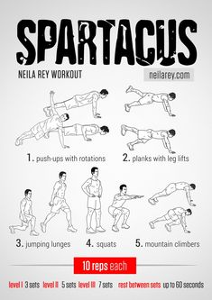 Spartacus Workout / works: lateral abs, core, glutes, shoulders, triceps, chest, quads, front hip flexors #fitness #workout #workoutroutine