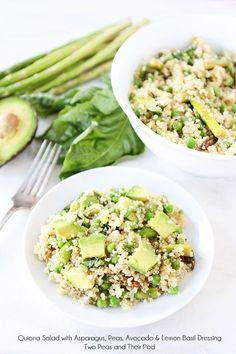 Quinoa Salad with Asparagus, Peas, Avocado and Lemon Basil Dressing