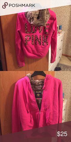 VS PINK Fur Lined jacket Pilled material, just needs shaved a bit. PINK Victoria's Secret Tops Sweatshirts & Hoodies
