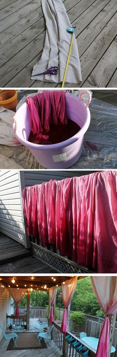 Curtain Dip Dye, I love this idea makes the porch look so much more elegant.