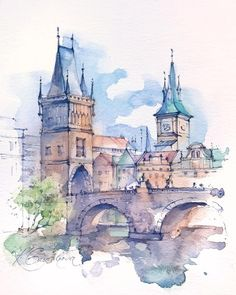 The Charles Bridge in Prague, Czech Republic ?The Charles Bridge in Prague, Czech Republic ? Watercolor Drawing, Watercolor Landscape, Watercolor Illustration, Landscape Paintings, Simple Watercolor, Watercolor Trees, Watercolor Animals, Watercolor Background, Abstract Watercolor