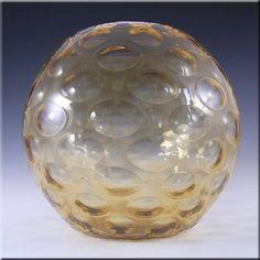 Borske Sklo 1950's Amber Glass Optical 'Olives' Vase - £29.99