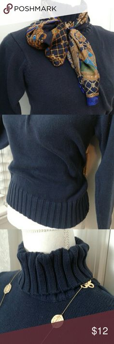 """Navy cotton knit turtleneck new Chadwick's 100% cotton knit turtleneck. Versatile item, dress up or down. New w/o tags. Measures 22"""" long, 24"""" sleeve & 14.5"""" across shoulder. Dark navy color that pretty much goes w/ everything. Chadwicks Sweaters Cowl & Turtlenecks"""