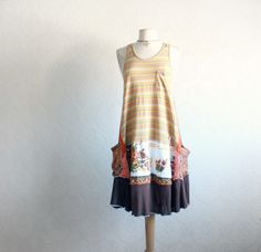 Slouchy, upcycled, boho dress in size medium