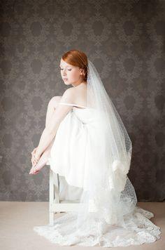 Bridal veil Dotted veil Lace veil Wedding Veil por sibodesigns