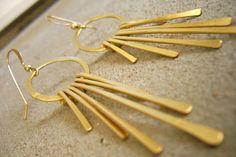 FREE Shipping Greek Goddess Jewelry Metal Fringe Long Earrings- Hammered Tiered Tassels. Bridal Jewelry $105