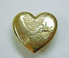 Vintage Variety Club Dove and Heart Goldtone Metal Pin