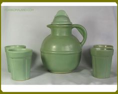 Frankoma Guernsey Pitcher ( and Tumblers ( Silver Sage