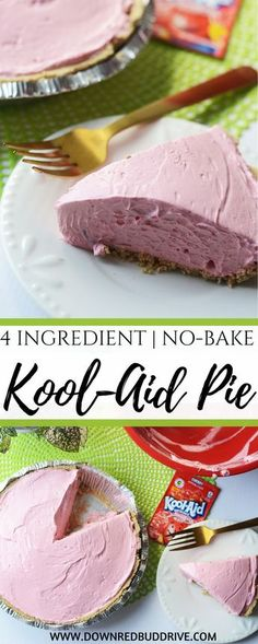 This Kool Aid Pie recipe is the easiest dessert you will ever make, hands down! Takes five minutes to make and only four ingredients! Icebox Desserts, Easy No Bake Desserts, Köstliche Desserts, Dessert Recipes, Easy Cheap Desserts, Cheap Desert Recipes, Summer Desserts, Drink Recipes, Easy Tart Recipes