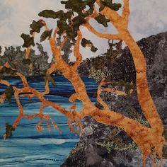 Fabric collage, machine stitched mounted on canvas 14x14 Collage, Stitch, Canvas, Fabric, Painting, Art, Tela, Tejido, Art Background
