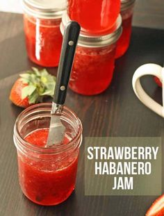Strawberry Habanero Jam recipe. When life gives you a boatload of habanero peppers and strawberries, make some jam. Strawberry habanero jam to be exact - spicy and sweet! | www.honeyandbirch.com #canning #jam #jelly