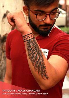Forearm Wing Tattoo, Tribal Forearm Tattoos, Wrist Band Tattoo, Arm Tattoos For Guys Forearm, Wing Tattoos On Wrist, Tribal Band Tattoo, Tattoo Wings, Tribal Shoulder Tattoos, Tribal Tattoos For Men
