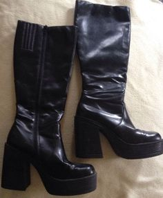 City Snappers Knee High Black Boots Zipper Chunk Heel Sz 8 Great Condition in Clothing, Shoes & Accessories | eBay