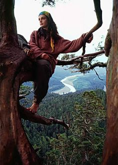 Julia Butterfly Hill, Environmentalist who spent 738 days living in a tree of the redwood forest, called Luna, in order to protect their old growth status and raise global awareness of the importance of such trees Dalai Lama, Great Women, Amazing Women, Woodstock, Beatles, Art Magique, Avatar, Environmentalist, Cultura Pop