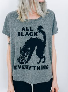 All Black Everything Black Cats Black Coffee Foodie Vintage Women's Slouchy Dolman T-shirt
