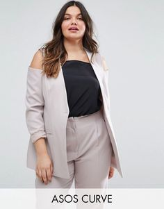 Buy it now. ASOS CURVE Cold Shoulder Blazer - Silver. Plus-size coat by ASOS CURVE, {Fabric description}, Lining, Type of collar, Zip fastening or Button/Press stud placket, Functional pockets, {FitInfo}, Dry clean, 93% Polyester, 7% Elastane, Our model wears a UK 18/EU 46/US 14 and is cm/ tall. ABOUT ASOS CURVE Say goodbye to awkward-fitting plus-size fashion with our ASOS CURVE collection. Giving shout-outs to denim, occasionwear and jumpsuits, our London-based design team nail your…