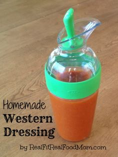 Homemade Western Dressing by Real Fit, Real Food Mom Western Salad Dressing Recipe, Salad Dressing Recipes, Salad Recipes, Salad Dressings, Avocado Recipes, Real Food Recipes, Cooking Recipes, Healthy Recipes, Free Recipes