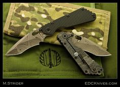 MICK STRIDER CUSTOM - NM BROWN DAMASCUS SMF WITH BLACK G-10 $1,150