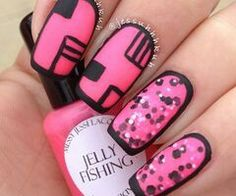 Preto e Rosa/ Black and Pink Nails