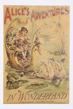 Bookish Designs Alice In Wonderland Wall Art. I just love Alice in Wonderland illustrations. Lewis Carroll, Alice In Wonderland Book, Adventures In Wonderland, Alice Book, Retro Poster, Vintage Posters, Vintage Prints, Swans, Pin Up