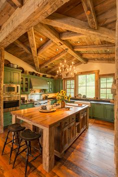 Homestead Pioneer Ranch - rustic - kitchen - denver - Lynne Barton Bier - Home on the Range Interiors Log Cabin Kitchens, Log Cabin Homes, Rustic Kitchen, New Kitchen, Western Kitchen, Rustic Cafe, Rustic Logo, Rustic Cottage, Rustic Outdoor