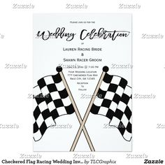 Checkered Flag Racing Wedding Invitation This unique couples wedding  Invite features a checkered flag and black text and white background. Great for an auto, stock, drag or motorcycle race fan, coach or driver.