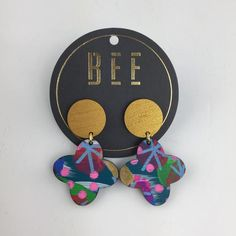 Simple, stunning, BEE Quinn Drops. Gold or Silver hand painted wooden top studs with Bee Twomey artwork dangles. Full length - 5cm Top Studs width - 1.8cm All p