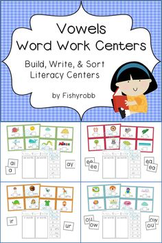 4 word work literacy centers - Build, Write, & Sort - Vowels ai/ay, ir/ur, ow/ou, ee/ea