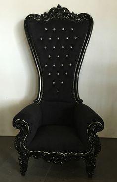 Etonnant Hollywood Baroque Rococo Black Goth Tall Armchair King Queen Throne  Wonderland