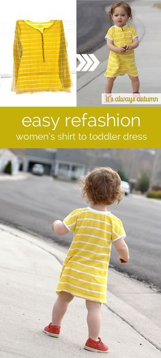 #refashion an old or unworn women's tee into an adorable dress for a baby/toddler girl with this #easy #sewing tutorial. #upcycle