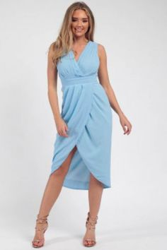 Pleated Wrap Midi Dress blue