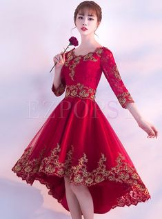 long prom dresses - Fashion Lace Splicing Asymmetric Prom Dress For Wedding High Low Prom Dresses, Homecoming Dresses, Formal Dresses, Red Fashion, Fashion Dresses, Ellie Saab, Sweetheart Prom Dress, Indian Gowns, Dress Out