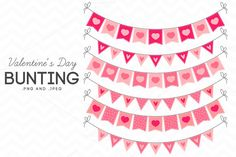 Valentine's Day Bunting Clip Art by AzmariDigitals on Creative Market