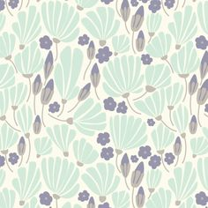 Elizabeth Olwen - Morning Song - Breezy Floral in Turquoise Cloud 9, Surface Pattern, Surface Design, Morning Songs, Turquoise Fabric, Nursery Fabric, Mini Crib, Retro Floral, Fabulous Fabrics