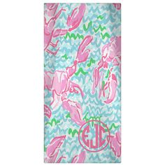 Designer Monogrammed  Beach Towel or Gym Towel - LR