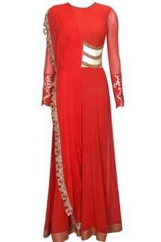 Red floral sequins embroidered anarkali suit available only at Pernia's Pop Up Shop.