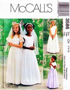 McCalls Sewing Pattern 3586 Girls Size 7-10 Formal Flower Girl First Communion Dress Veil