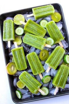 Sweet and tangy Cucumber Lime Mint Paletas - the perfect frozen treat to enjoy on a hot summers day! Paleo, Vegan, Low FODMAP, and AIP friendly Healthy Popsicle Recipes, Healthy Popsicles, Homemade Popsicles, Healthy Snacks, Vegan Recipes, Paleo Vegan, Vegetarian, Coconut Popsicles, Kid Recipes