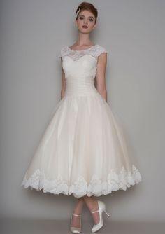 86-Prudie - Vintage inspired tea length silk organza bridal dress