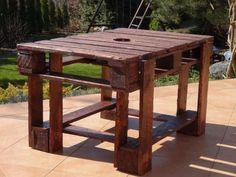 stół, stolik z palet, palisander, z miejscem na doniczkę Poznań - image 1