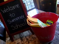 """""""Summer school in a bucket"""" include flash cards, grade appropriate workbooks, and reading book.  Focus on reading, writing, and math skills for an hour a day, 3 days a week over the summer.  Great idea to have everything accessible and even cute to leave sitting out!"""