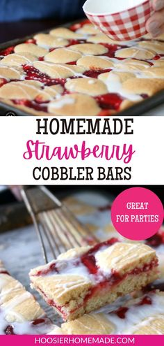 Homemade Strawberry Cobbler Bars are a delicious sweet treat you can enjoy for breakfast or dessert! When picked at just the right time, strawberries make the perfect addition to any recipe, especially these Strawberry Cobbler Bars. With these bars in your hand, you will not only be the hero of your home, but perhaps the person of the year. #cobbler #strawberries #desserts Strawberry Cobbler, Strawberry Desserts, Fun Desserts, Delicious Desserts, Dessert Recipes, Yummy Food, Breakfast Snacks, Sweet Breakfast, Best Granola Bars