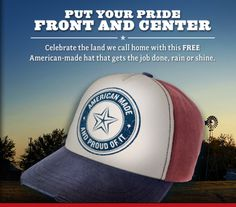 """FREE """"American Made"""" Cap From RedSeal Tobacco http://www.freebiequeen13.net/free-samples.html"""