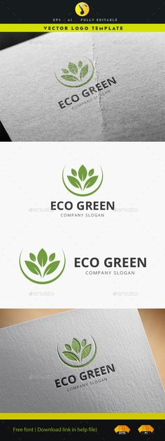 Eco Green - Logo Design Template Vector #logotype Download it here: http://graphicriver.net/item/eco-green/12178169?s_rank=627?ref=nexion