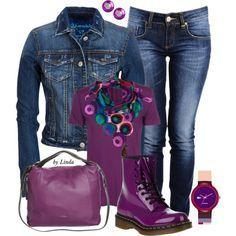 """""""Denim & Purple Fall Outfit"""" by lindakol on Polyvore"""