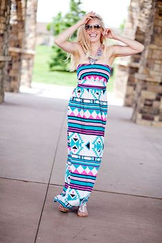 LOVE!! This aztec maxi dress. Shop our online women's clothing boutique! FREE SHIPPING www.lillieavenue.com  #OOTD #BEST #LOVE #MAXIDRESS #FASHION #SUMMER #LOOK #MUSTHAVE #LOOKOFTHEDAY